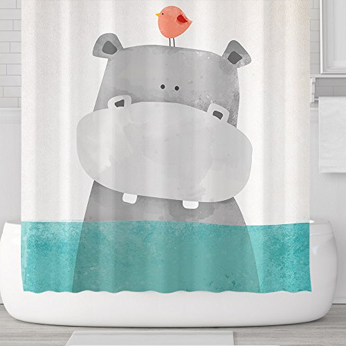 Cute Cartoon Animals Shower Curtains with Hooks, Hippo Bird Baby, Waterproof mildew Resistant, 72 x 72 inches, Children Bathroom Gift, Green Grey (Hippo)