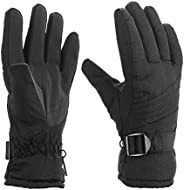 PALMOO Ski Gloves Snow Mittens Waterproof Winter Warm Cycling Gloves Black
