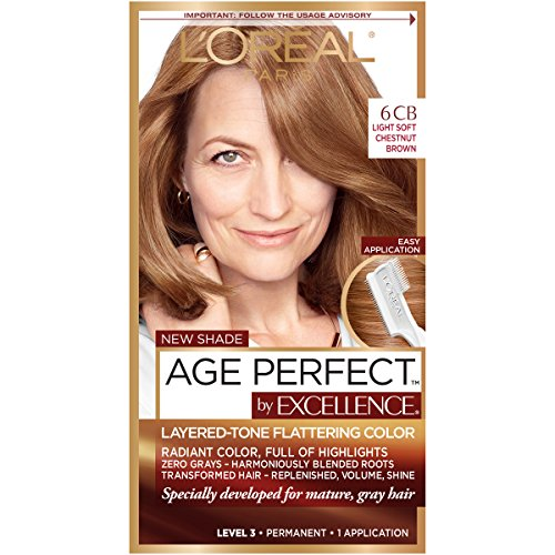 L'Oreal Paris ExcellenceAge Perfect Layered Tone Flattering Color, 6CB Light Soft Reddish Brown