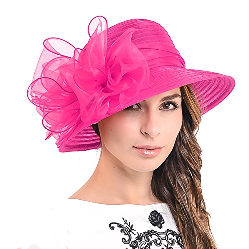 Ascot Kentucky Derby Bowler Church Cloche Hat Bowknot Organza Bridal Dress  Cap S051 3f89076ee7d9