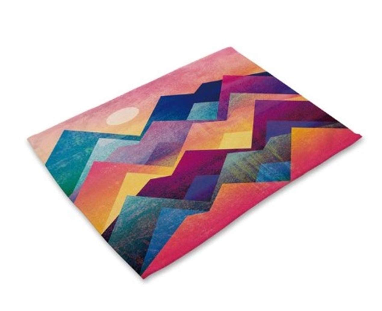 1 Pc Mountain Colorful Cotton Linen Placemat Howling Popular Place Mat Dining Table Set Non Slip Toddlers Learning Food Plate Washable Cloth Cover Tool Holiday Decor