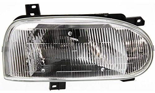 Evan-Fischer EVA13572052552 New Direct Fit Headlight Head Lamp for GOLF 93-99 RH Assembly Halogen Single Bulb Type With Bulb(s) Passenger Side Replaces Partslink# VW2503104