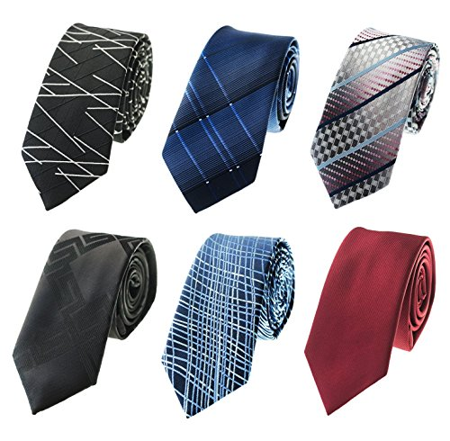 Tiger Mama 6pcs Business Skinny Necktie Tie Mixed Lot ()
