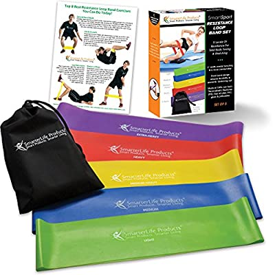 Resistance Loop Bands (set of 5) - Extra Wide Resistance Bands Designed for Comfort - Free of Latex, PVC & Phthalates - Best Exercise Band Set for Home Workouts, Resistance Training & Physical Therapy