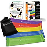 ** SALE ** Resistance Loop Bands - Set of 5 - Extra Wide Design = Comfort - Free of Latex, PVC & Phthalates - Best for Exercise, Workouts, Resistance Training & PT + Travel Pouch - Lifetime Warranty