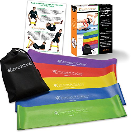 Resistance Bands (set of 5) - Extra Wide Resistance Loop Bands Designed for Comfort - Free of Latex, PVC & Phthalates - Best Exercise Bands Set for Workouts, Resistance Training & Physical Therapy