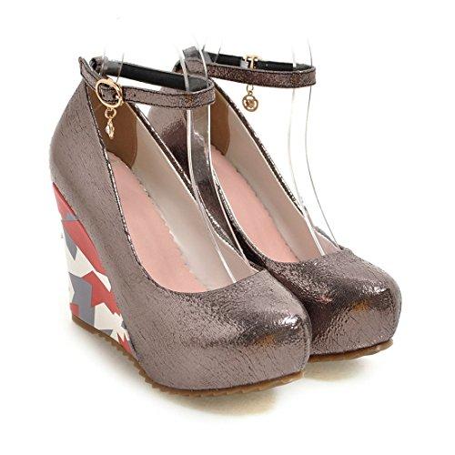 YE Damen Blumenmuster High Heels Plateau Pumps Geschlossen mit Keilabsatz und Riemchen Schnalle 10cm Absatz Schuhe Silber Grau