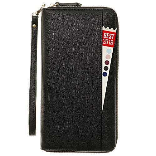 Travel Document Organizer - RFID Passport Wallet Case Family Holder Id Wristlet (Black)