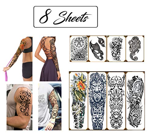 Temporary Tattoos Hawaiian Tribal Large Full Arm and Half Sleeves (8 Sheets) Premium High Quality Realistic Fake Semi Permanent Black Body Stickers for Men and Women for Shoulder Chest & Back