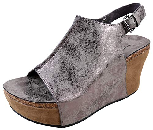 Fabulous Wedge - Pierre Dumas Hester-14 Women's Vegan Leather Peep-Toe Adjustable Ankle Strap Wedge Sandals (6 B(M) US, Pewter)