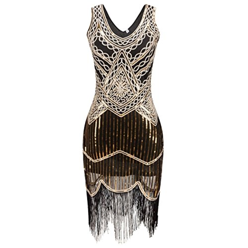 Women Robe Femme Gatsby Flapper Sequin Fringe Embroidery Midi Dress ()