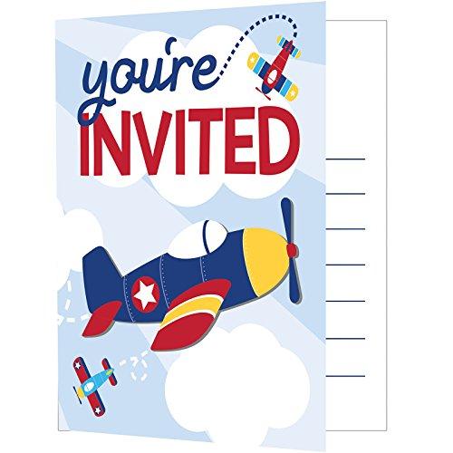Creative Converting Lil' Flyer Airplane Foldover Invitation, Multicolor, One Size - Airplane Birthday Invitation
