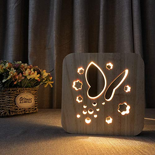 HIOJDWA Night lightButterfly 3D Night Light Wooden Decorative Lighting USB Power Table Desk Lamp Kid Beedroom Decoration Lighting Gift (Beedroom Furniture)