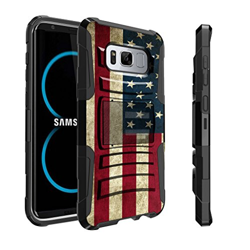 Untouchble Case for Samsung Galaxy S8 | S8 Holster Case | SM-G950 Case [Heavy Duty Clip]- Shockproof Swivel Holster Case with Built in Kickstand - Vintage America Flag (Best Price On Samsung S8)
