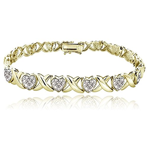 0.50ct TDW Diamond X & Heart Bracelet, Gold Tone by Jawa Fashion