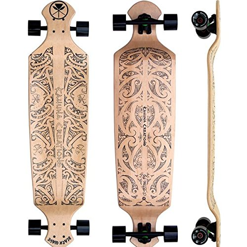 "Kahuna Creations Black Wave Natural 43"" x 10"" Drop Deck Longboard Skateboard - Natural"