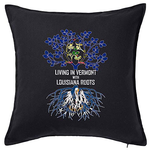 Tenacitee Living in Vermont with Louisiana Roots Black Throw Pillow with Duck Feather Filling (Rouge Baton La Burlington)