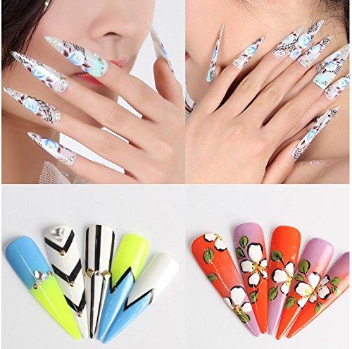 Velidy - 500 uñas de coffin transparentes, blancas y de color natural afiladas con punta de bailarina para uñas, acrílico, 10 tamaños, para uñas, ...