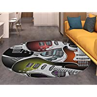 Popstar Party Non Slip Round Rugs Pile of Graphic Colorful Electric Guitars Rock Music Stringed Instruments Oriental Floor and Carpets Multicolor