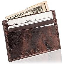 Suvelle Mens Slim Genuine Leather Front Pocket Wallet Minimalist Card Case Holder W033