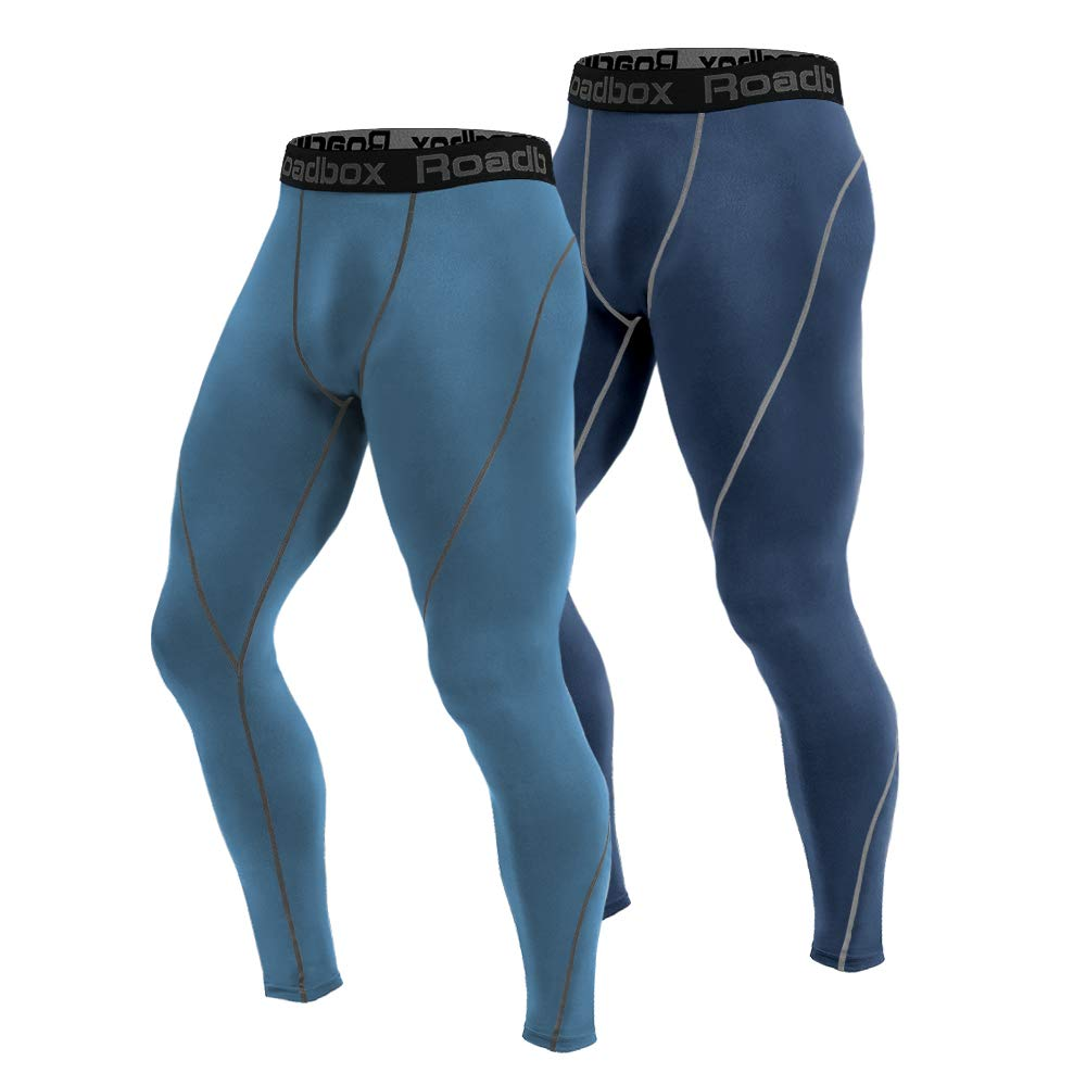 ac0069a981a Roadbox 2 Pack Men s Compression Pants Workout Warm Dry Cool Sports Leggings  Tights Baselayer for Running Yoga