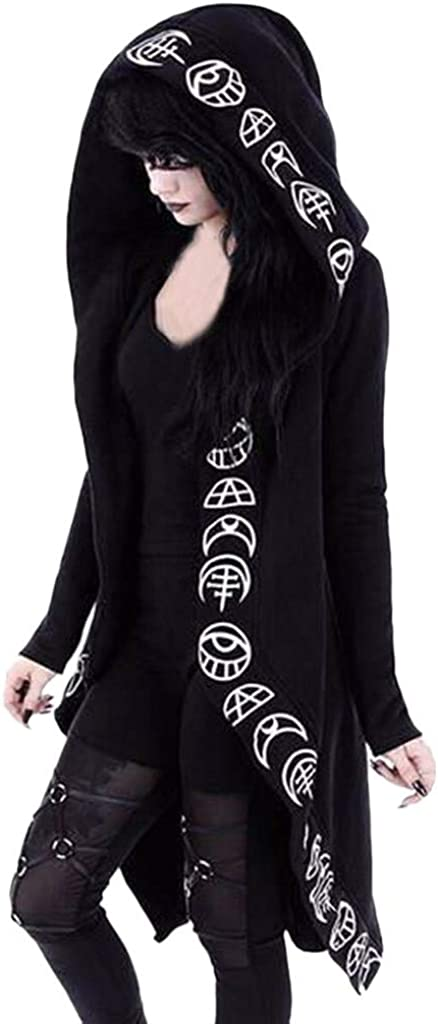 MISYAA Womens Constellation Totem Print Punk Coats Hoodies Gothic Nightclub Party Jackets Wrap Tops for Women Plus Size S-5XL