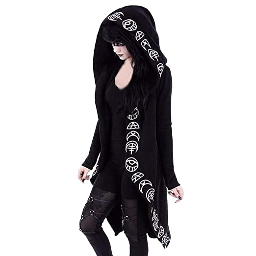 e151ee67f TWGONE Cardigan Jacket Women Plus Size Hooded Coat Long Sleeve Punk Moon Print  Black Cloak (