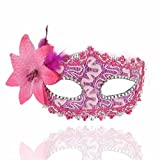 Face mask Shield Veil Guard Screen Domino False Front Halloween mask Makeup Dance Side with Flower Cloth mask Rose