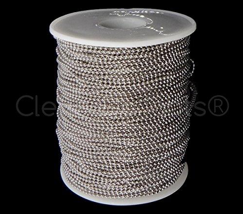 Platinum 1.5 Mm Ball (CleverDelights Ball Chain Spool - 330 Feet - 1.5mm Ball (Small) - Antique Silver (Platinum) Color - Bulk)