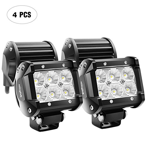 Nilight LED Light Bar 4PCS 4 Inch 18W LED Bar 1260lm Flood Led Off Road Driving Lights Led Fog Lights Jeep Lighting LED Work Light for Van Camper SUV ATV ,2 Years Warranty ()