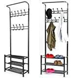 Metal Multi-purpose Clothes Coat Stand Shoes Rack Hat Umbrella Bag Stand With 18 Hangers Entryway Organiser Max Load Capacity Up to 80 KG / 176 lbs (black)
