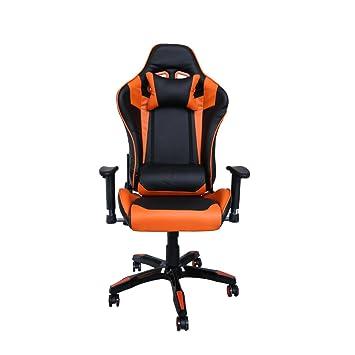 huigou HG Silla Giratoria De Oficina Gaming Chair Apoyabrazos Acolchados Silla Racing (Negro/Naranja): Amazon.es: Hogar