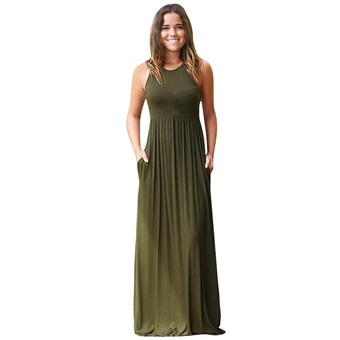 Vestidos de mujer elegantes,VENMO Mujer sólido largo vestido bohemio dama playa verano vestido de