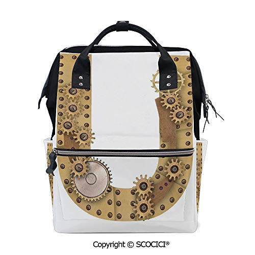 SCOCICI Travel Backpack Large Diaper Bag,Dieselpunk Fantasy Mechanism with Plates U Font Structure Gearwheel Theme Print Decorative,with Wide Style Top Opening