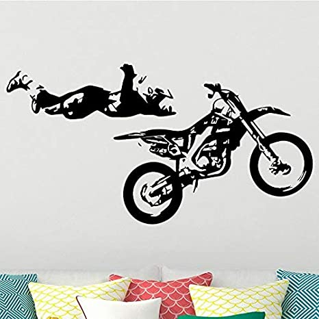 wZUN Calcomanía de Pared para Motocicleta, decoración para habitación de niño, Pegatina de Pared, Vinilo extraíble, decoración del hogar, 68X36 cm