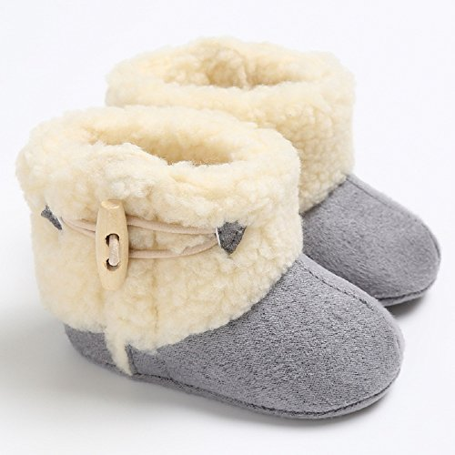 Meeshine Winter Warm Baby Boots Premium Soft Sole Prewalker Newborn Infant Boy Girl Crib Shoes Snow Boots(Medium/6-12 Months,Gray)