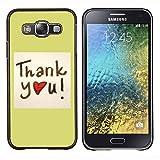 Samsung Galaxy E5 / SM-E500 , Luminous-Blue - Hard Plastic Back Case Cover Shell (Thank You)