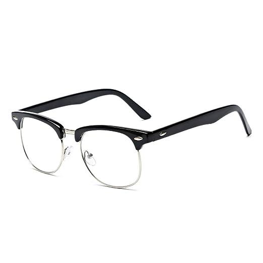 f933cb80baa3 Amazon.com  Doober Women s Retro Fashion Clear Lens Glasses Designer Vintage  Half Frame Eyewear (Bright Black