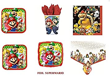 CdC - Kit n° 29 para fiesta de cumpleaños con imágenes de Super Mario Bros y Luigi. Incluye 40 platos, 40 vasos, 40 servilletas, 1 mantel y 1 globo de papel de aluminio: Amazon.es: Hogar