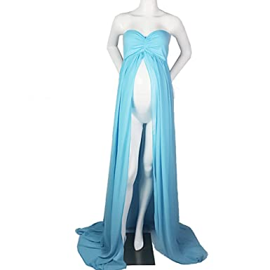 e12abf2e7eb Sexy Maternity Off Shoulder Chiffon Gown Split Front Maxi Photography Dress  for Photo Shoot (Blue