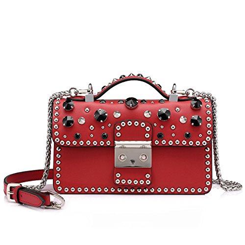 Open Metal Studded Leather Belt (Designer Small Handbags for Women Mini Ladies Smartphone Crossbody Bags Purse Structured Rhinestone Red)