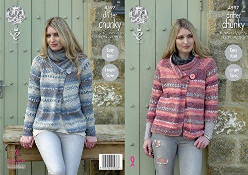 Long Cardigan Knitting Pattern - King Cole Ladies Knitting Pattern - Easy Knit Long or 3/4 Sleeve Jackets Drifter Chunky (4597)