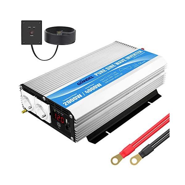 51CGa1aXcHL 2000W Spannungswandler 12V auf 230V/240V Reiner Sinus Wechselrichter Konverter mit AC-Steckdosen mit Fernbedienung für…