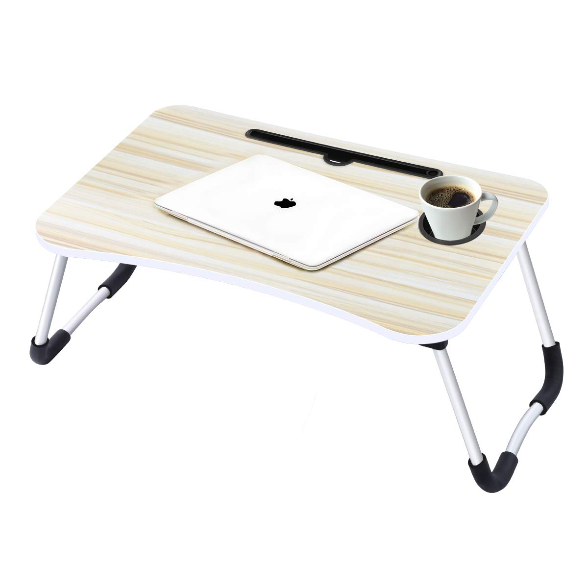 Laptop Desk,Laptop Bed Tray Table Large Foldable Laptop Notebook Stand Desk with Ipad and Cup Holder Perfect for Eating Breakfast, Reading Book, Working,Watching Movie on Bed/Couch/Sofa (Beige) by Suninhome