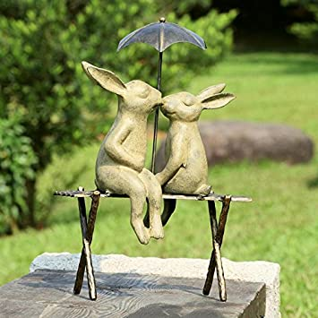 SPI Home 33518 Bunny Lovers On Bench Sculpture