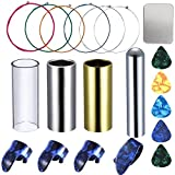 M-Aimee Guitar Accessories Set Including 3 Pieces Medium Guitar Slides(1 Iron Slide, 1 Brass Slide, 1 Glass Slide), 1 M-Aimee Guitar Tone Bar, 1 Set Multicolor Guitar Strings and 4 Pieces Thumb Finger Picks