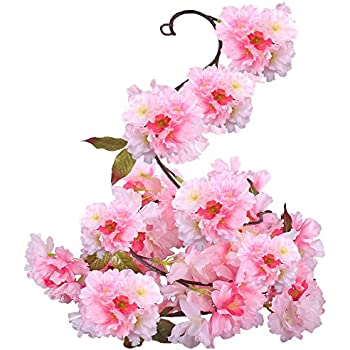 Amazon htmeing 89 artificial cherry blossom hanging vine silk gtidea silk plants direct artificial cherry blossom hanging vine spray arrangements faux garland fake wreath home mightylinksfo