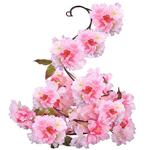 GTidea Silk Plants Direct Artificial Cherry Blossom Hanging Vine Spray Arrangements Faux Garland Fake Wreath Home Garden Yard Fence Party Wedding Decor Pink