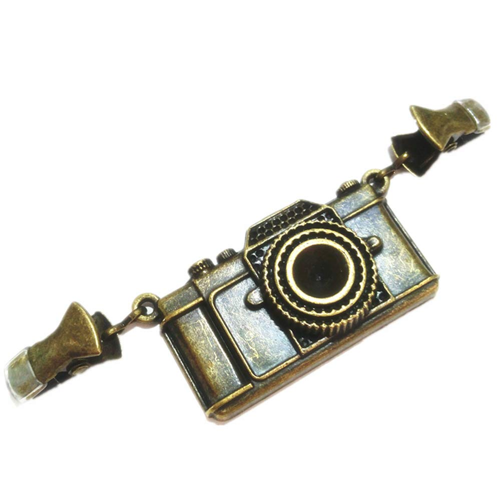 Ever Cute Vintage Camera Cardigan Sweater Clip Guard Bronze Dress Clothes Cinch Clip Shawl Scarf Collar Pin