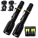 Skywolfeye 2 Sets LED Rechargeable Flashlights 5 Modes T6 2000 Lumens Bright Handheld Flashlight Torch Lamp with Batteries Chargers Bike Clip for Camping Running Bicycling